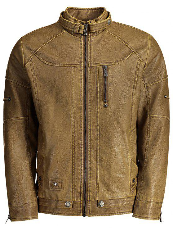 best Faux Leather Mens Biker Jacket - BROWN L
