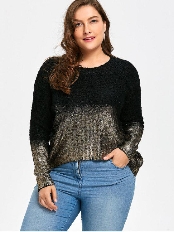 unique Ombre Glitter Asymmetric Plus Size Sweater - BLACK GOLD ONE SIZE