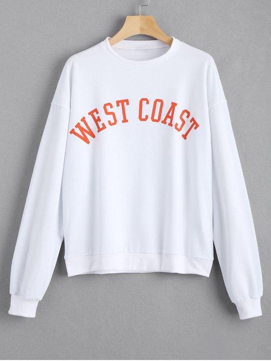 Sweat-shirt Lâche à Message Contrastant - Blanc 2XL