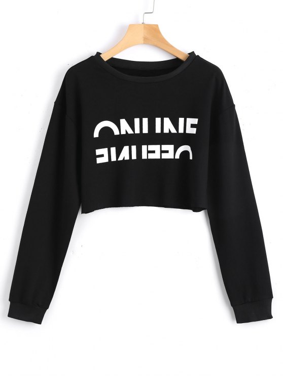 new Cropped Contrasting Letter Sweatshirt - BLACK S