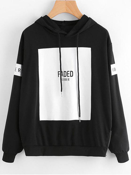 shops Contrast Letter Drawstring Hoodie - BLACK S