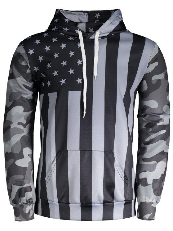 outfits Camo American Flag Hoodie - BLACK AND GREY M
