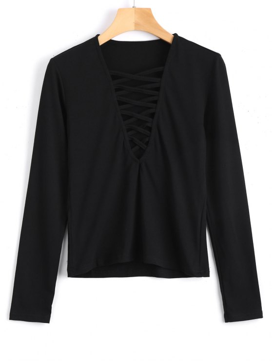 buy Long Sleeve Criss Cross Layering Top - BLACK S