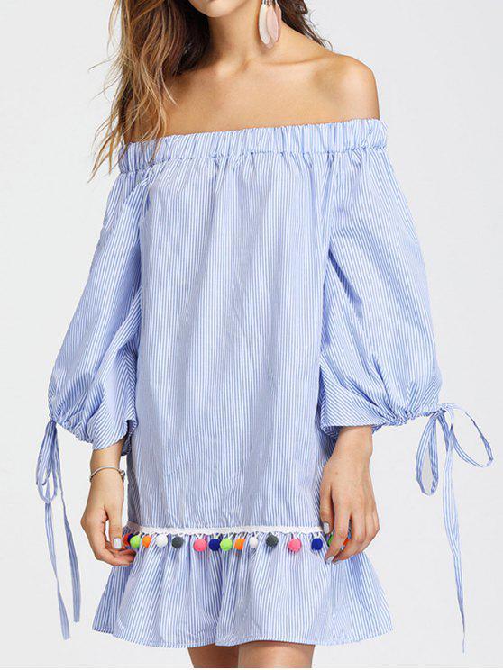women's Off Shoulder Split Sleeve Embellished Striped Dress - LIGHT BLUE S