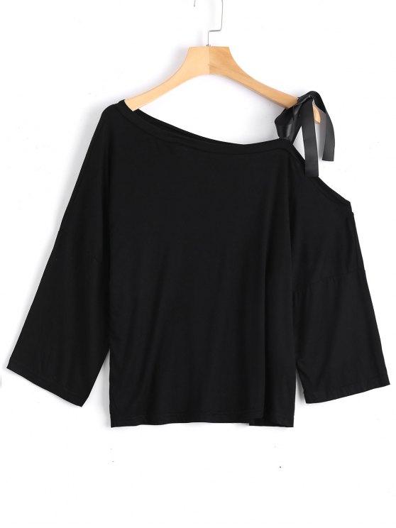 unique Cotton Tied Strap Cold Shoulder Top - BLACK S
