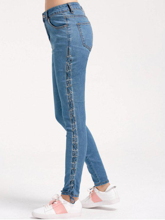 Skinny Lace Up Pencil Jeans - Jeans Azul M
