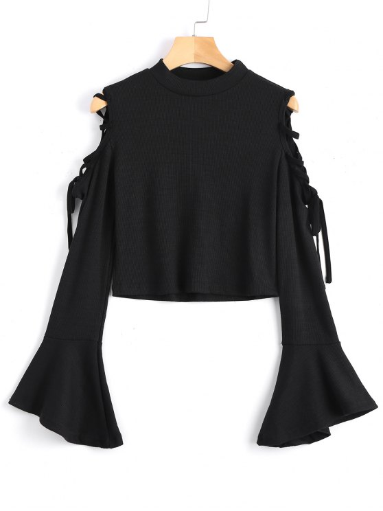 shops Knitted Lace Up Cold Shoulder Top - BLACK S