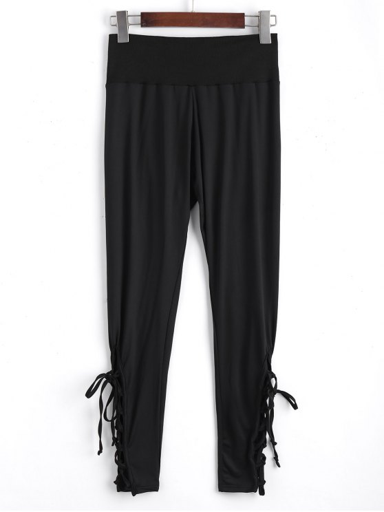 Ninth High Waisted Lace Up Leggings - Preto 2XL