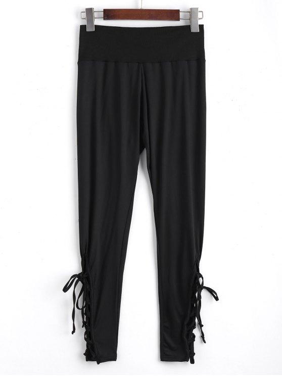 Leggings Lacé à Taille Haute - Noir 2XL