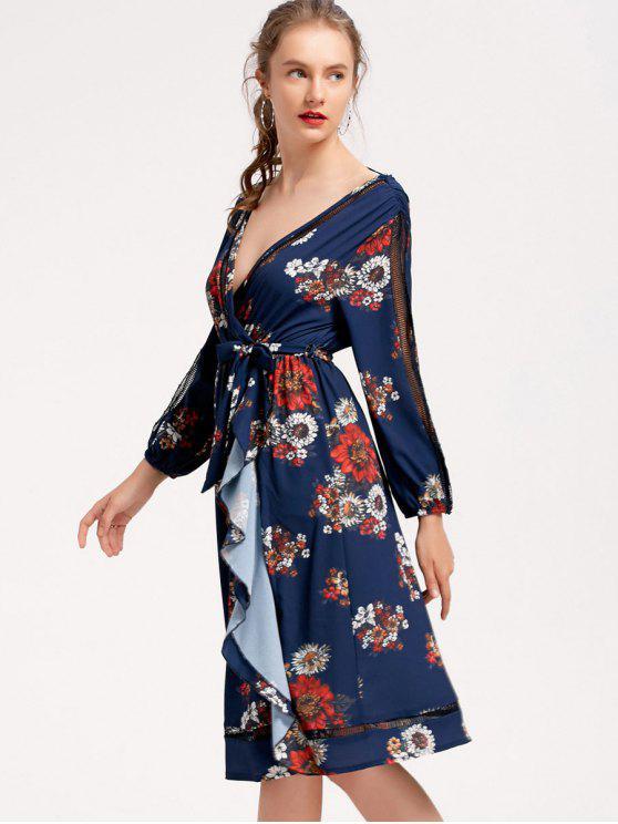 chic Long Sleeve Floral Ruffles Midi Dress - PURPLISH BLUE S