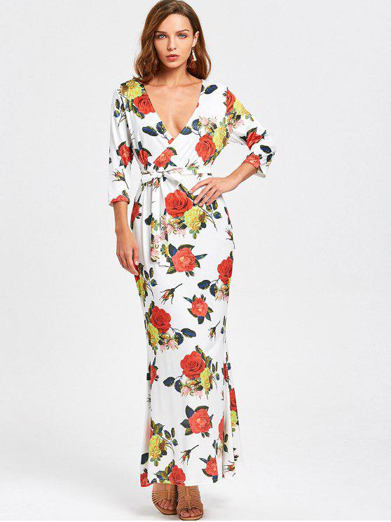 online Crossed Front Belted Floral Maxi Dress - FLORAL L