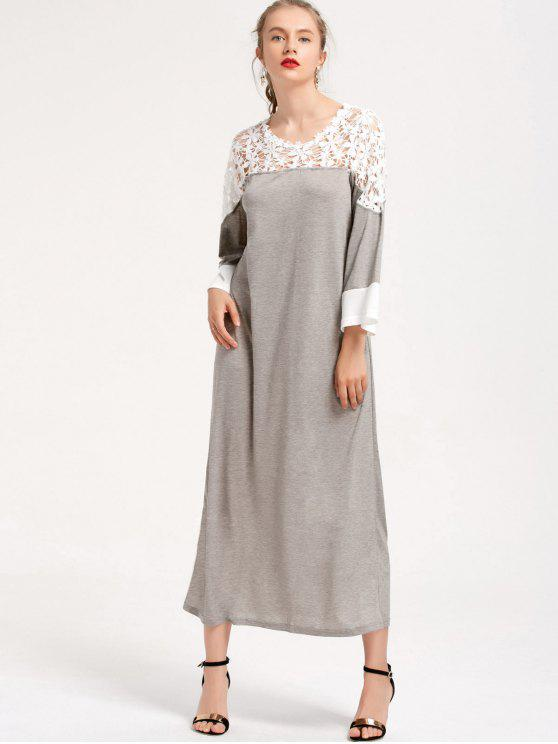 fancy Two Tone Lace Panel Maxi Dress - GRAY S