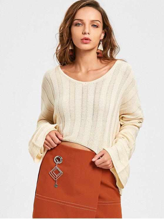 online Oversized V Neck High Low Sweater - OFF-WHITE ONE SIZE