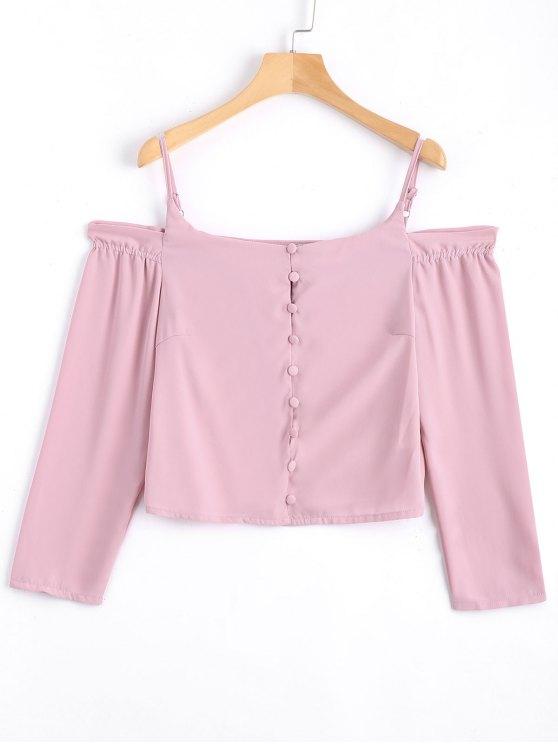 chic Chiffon Button Up Cold Shoulder Blouse - PINK M