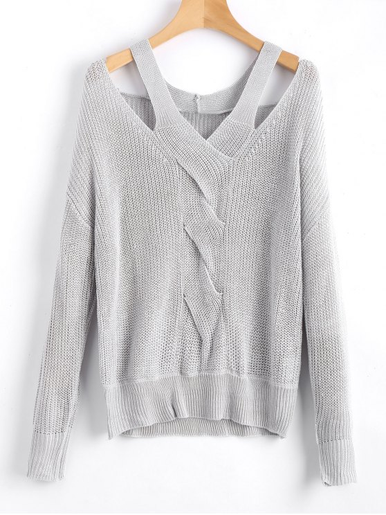 fancy Oversized Cold Shoulder V Neck Sweater - GRAY S