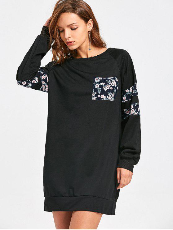 trendy Longling Casual Floral Panel Sweatshirt - BLACK XL