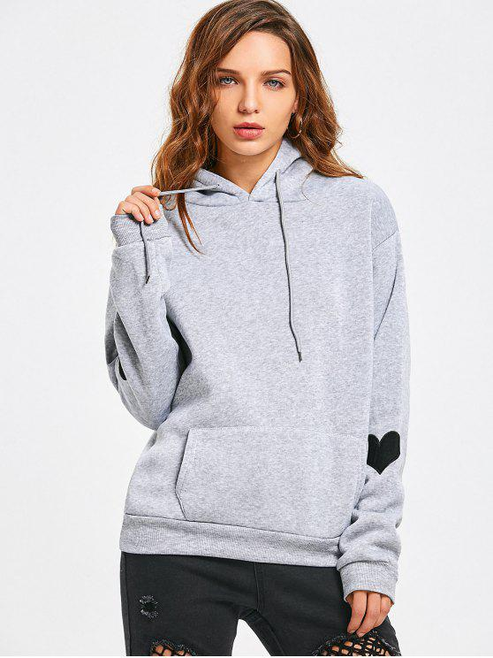 fancy Heart Embroidered Hoodie with Pocket - GRAY L