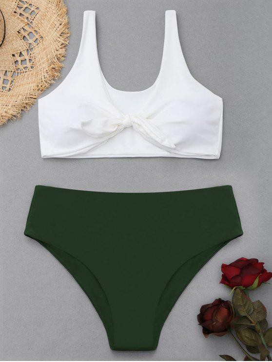 outfit Two Tone Plus Size High Waisted Bikini - ARMY GREEN XL