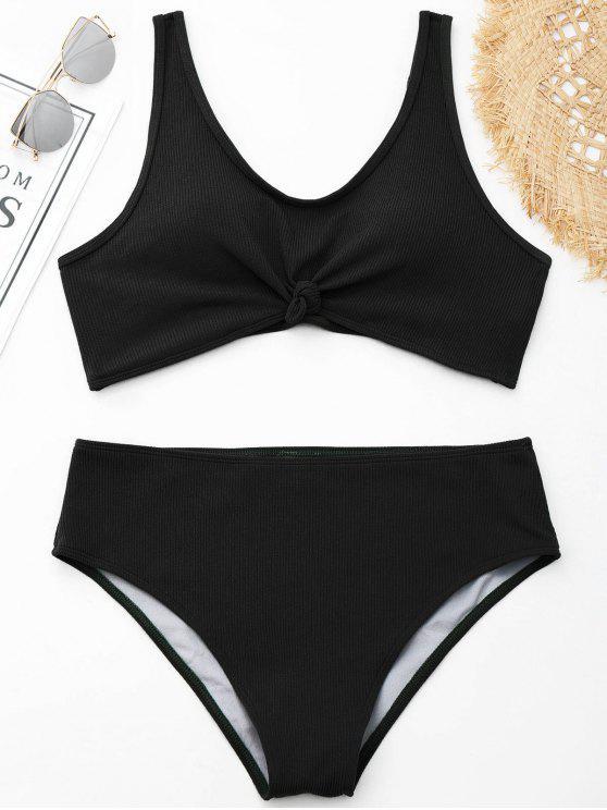 chic Knotted Ribbed Plus Size Bikini - BLACK XL
