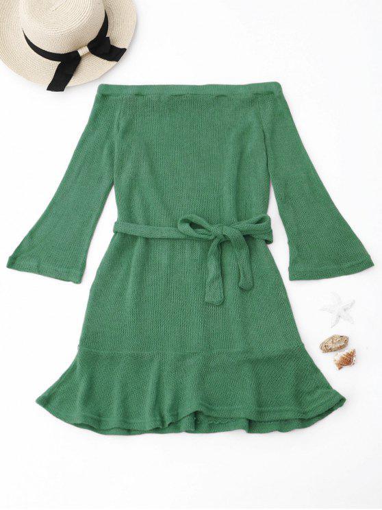 Gestricktes Schulterfreies Kleid mit Gürtel - Grün M