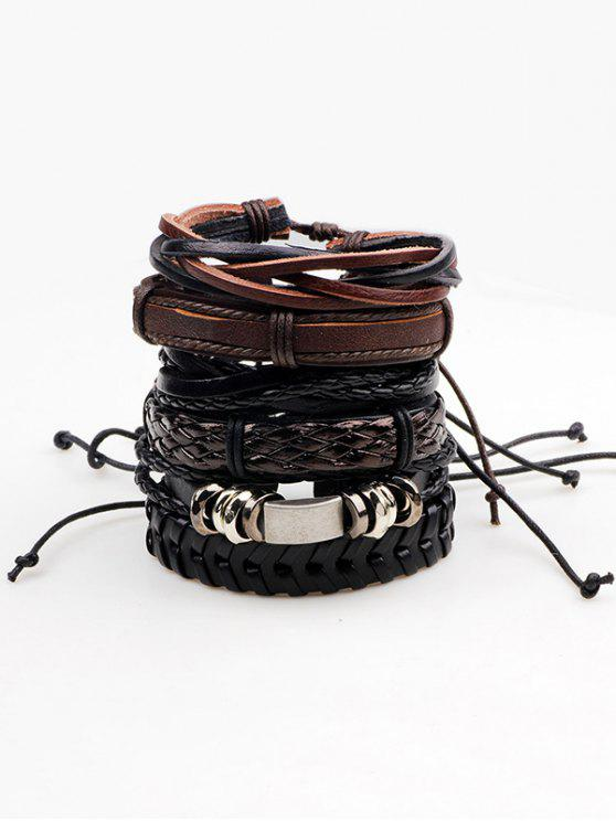 buy Retro Faux Leather Woven Bracelets Set - BROWN