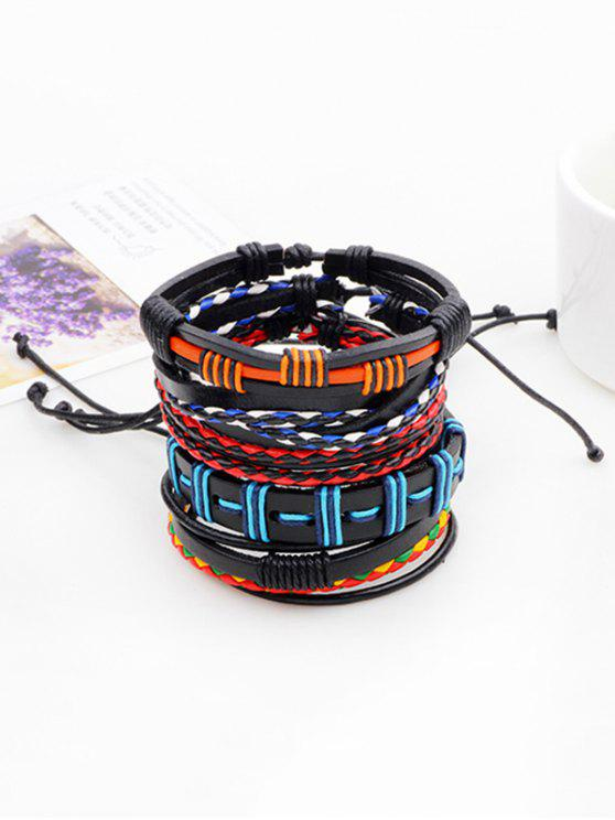 affordable Bohemian Layered Faux Leather Woven Bracelet - COLORFUL