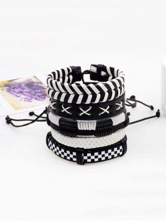 Layered Vintage Faux Leder gewebte Armband Set - Schwarz