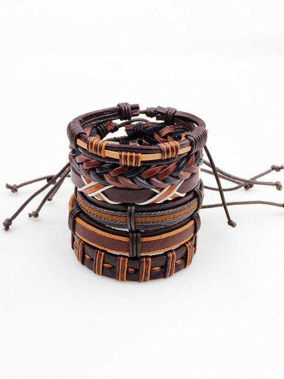 unique Vintage Artificial Leather Woven Friendship Bracelets Set - BROWN