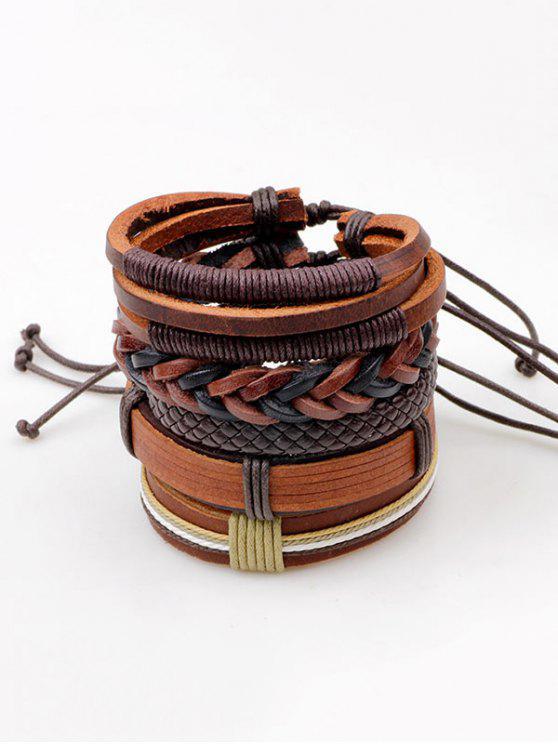 Braceletes em camadas de couro Faux Leather - Castanho