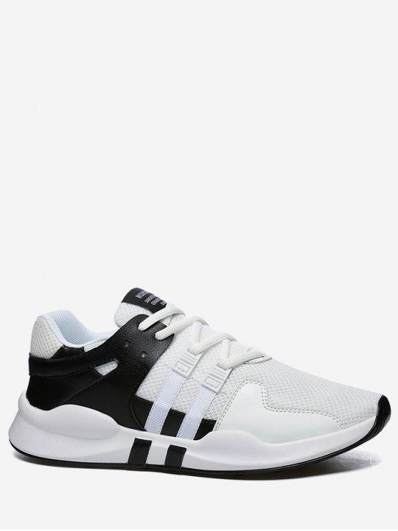 shop Round Toe Low Top Mesh Sneakers - BLACK WHITE 42