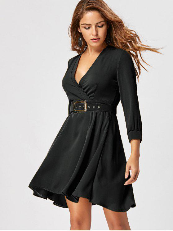 women's Fit and Flare Dress with Belt - BLACK 2XL