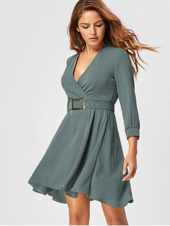 outfits Fit and Flare Dress with Belt - SAGE GREEN M