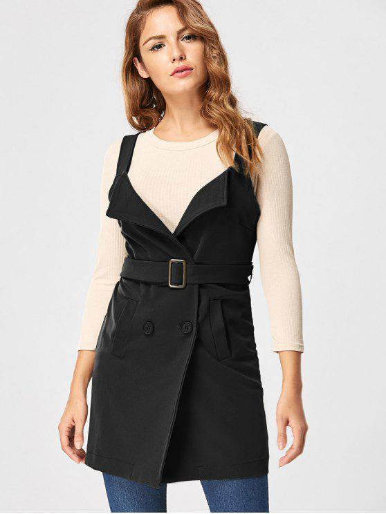 trendy Vertical Pockets Waistcoat with Belt - BLACK 2XL