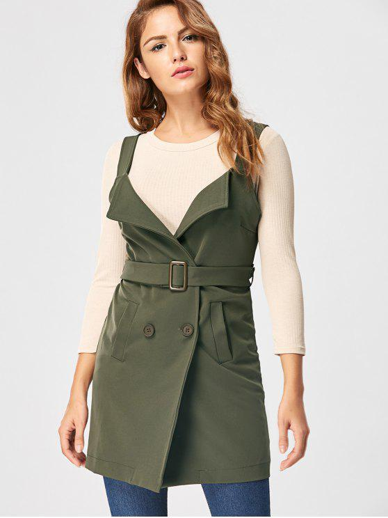 unique Vertical Pockets Waistcoat with Belt - ARMY GREEN M
