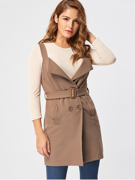 womens Vertical Pockets Waistcoat with Belt - KHAKI M
