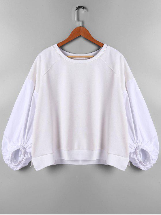 Tropfen-Schulter-Laternen-Hülsen-Sweatshirt - Beige (Weis) XL