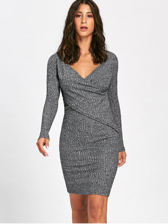 outfits Long Sleeve Ribbed Surplice Knit Dress - GRAY L