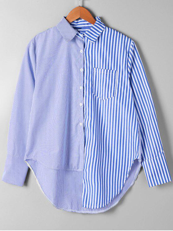 chic Patch Pocket Striped Asymmetrical Shirt - BLUE STRIPE XL