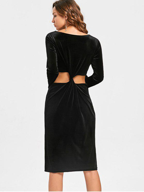 online Back Knot Cut Out Long Sleeve Velvet Dress - BLACK 2XL