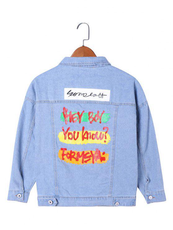 unique Letter Print Flap Pockets Jean Jacket - LIGHT BLUE 2XL