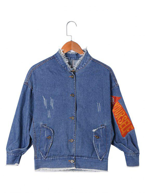 womens Applique Frayed Denim Jacket - DENIM BLUE 2XL