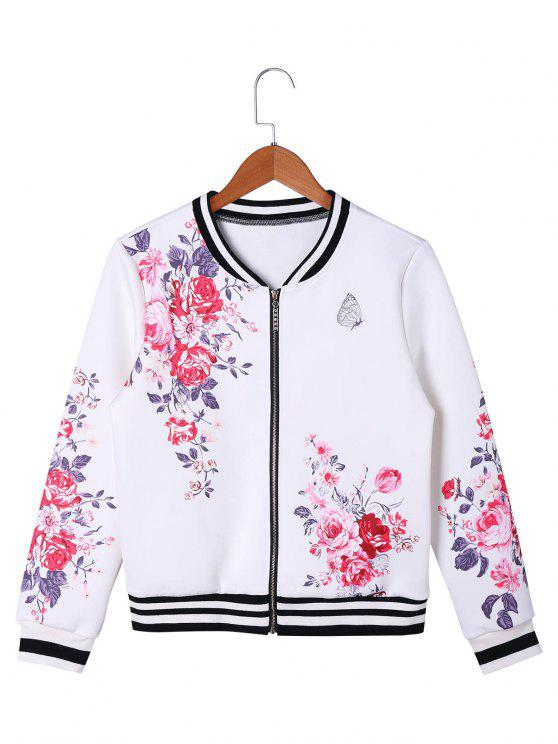 women Floral Zip Up Baseball Jacket - WHITE 2XL