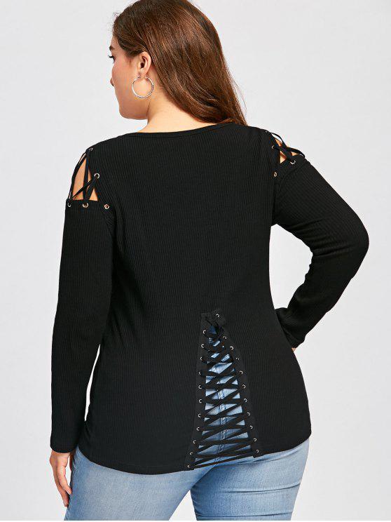 Plus Size Criss Cruz Camiseta de manga larga con nervaduras - Negro 4XL