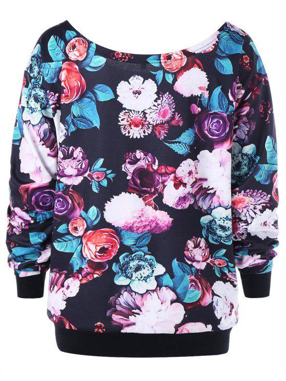 Plus Size Allover Blumenschrägkragen Sweatshirt - Schwarz 5XL