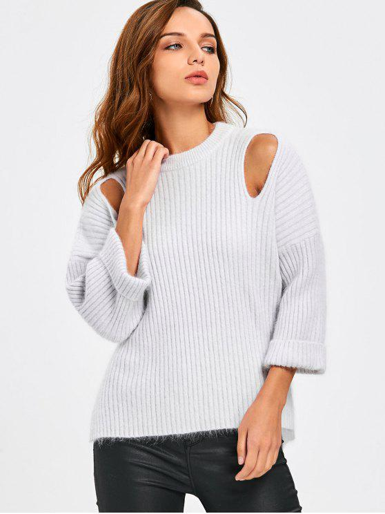 trendy Cutout Side Slit Drop Shoulder Ribbed Sweater - PINK + WHITE 2XL