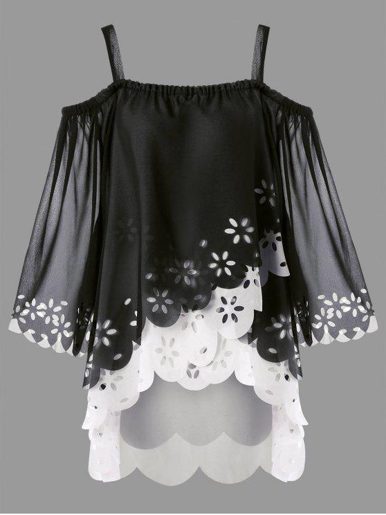 Más tamaño hombro frío High Low Blusa con alambre - Negro 5XL
