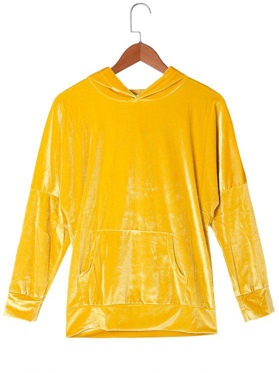 fashion Kangaroo Pocket Velvet Hoodie - GOLDEN YELLOW 2XL