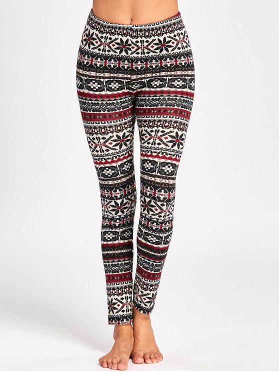 Pantalones pitillo gráfico navideño - Colores Mezclados XL