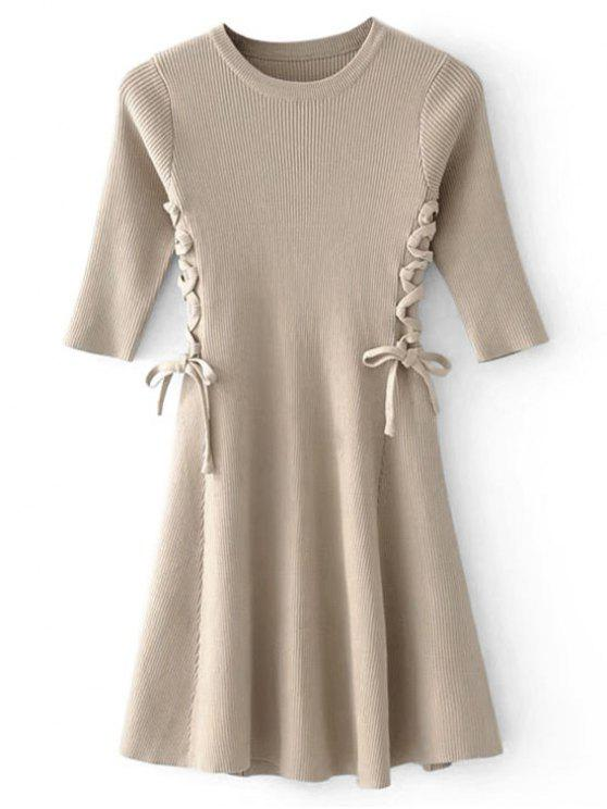 affordable Lace-up Ribbed Sweater Dress - CAMEL ONE SIZE