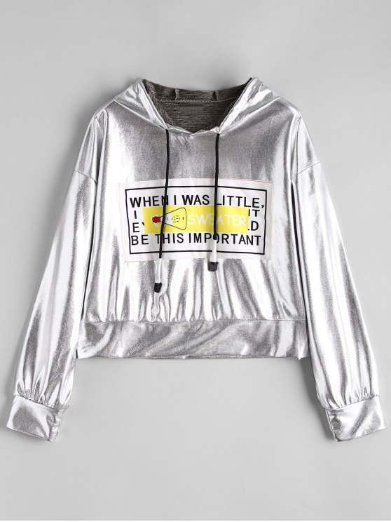 outfit Metal Color Shiny Front Patch Hoodie - SILVER ONE SIZE